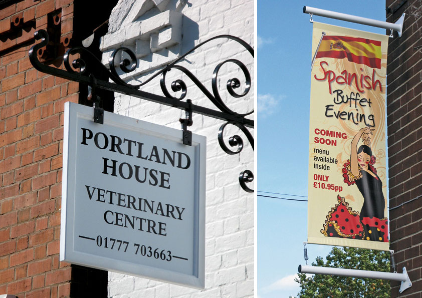 Fabricated hanging signs, hanging banners, wall mounted hanging signs, wall mounted banner poles, Retford, Nottinghamshire