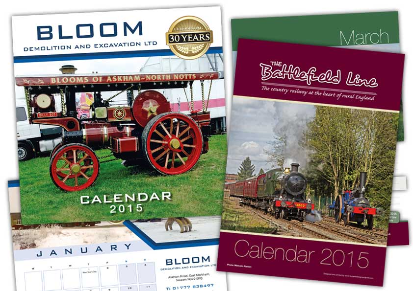 Bespoke and personalised calendars and company wall planners designed and printed in Nottinghamshire and Lincolnshire