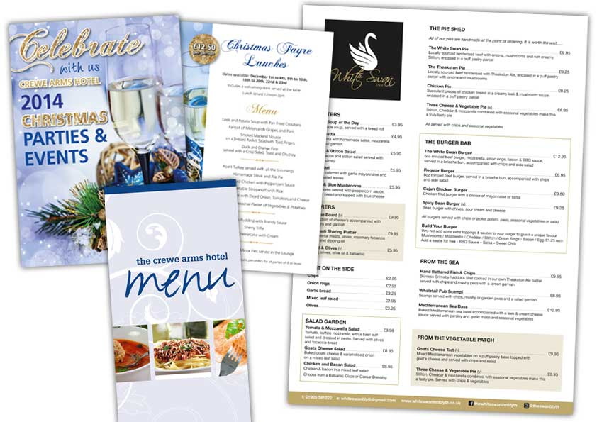 Printed menus can be laminated and printed in any shape and size or even made into a bruchere such as the christmas fayre menus.