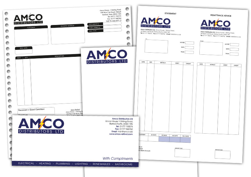 Letterheads, business cards, printed stationery, continuous stationery, carbonless sets all printed in Retford Nottinghamshire