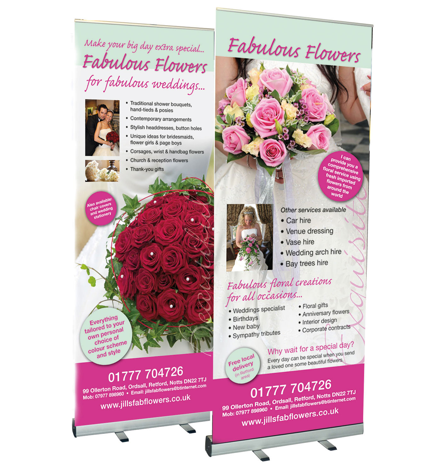 Roll up banners for wedding fayre, exhibition, trade stall etc. designed and printed in Retford