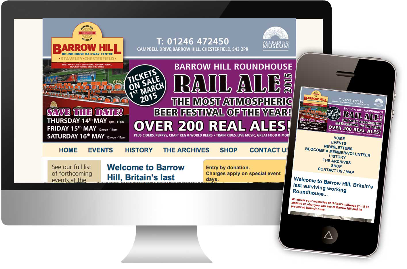 Barrow Hill Museum website, launched in January 2015, responsive web design.