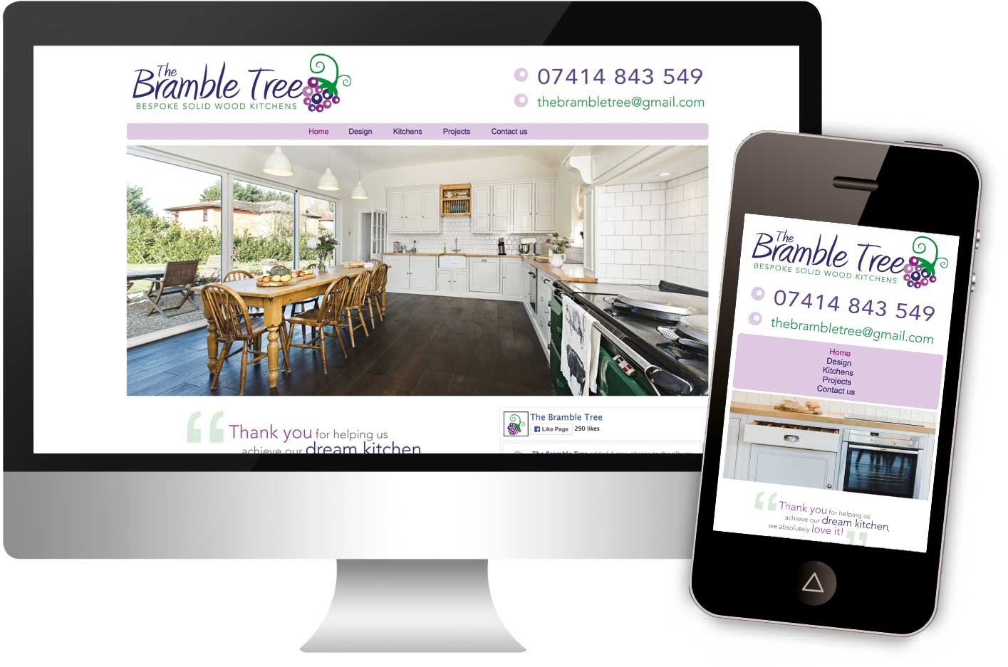 Bramble Tree Kitchens website, launched in April 2016, responsive web design.