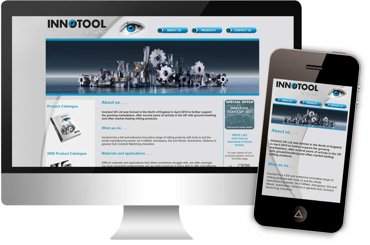 Innotool Uk Limited website, launched in January 2016, responsive web design.
